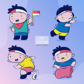 Insieme del vettore felice del fumetto di festa dell'indipendenza dell'indonesia, celebrazioni con il gioco del gioco tradizionale