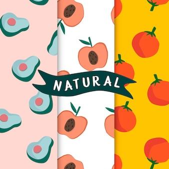 Insieme del vettore senza cuciture dei modelli della frutta naturale