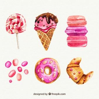 Insieme delizioso del gelato e delle pasticcerie dell'acquerello