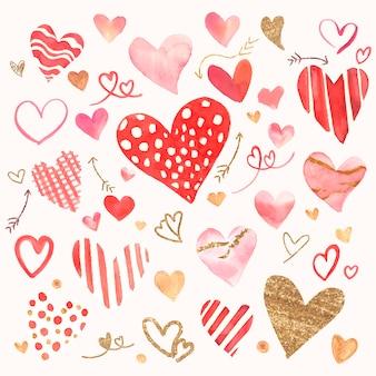 Insieme dell'acquerello dell'icona di san valentino