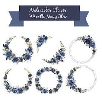 Insieme dell'acquerello della corona floreale blu navy