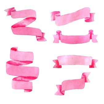 Insieme dell'acquerello delle bandiere rosa isolate su bianco.
