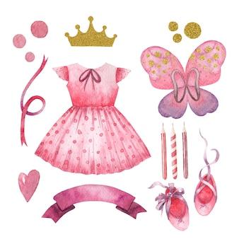 Insieme dell'acquerello di bambini svegli per bambina principessa