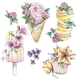 Insieme dell'acquerello disegnato a mano di dolci dessert con fiori