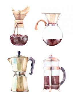 Insieme dell'acquerello disegnato a mano di macchine per il caffè
