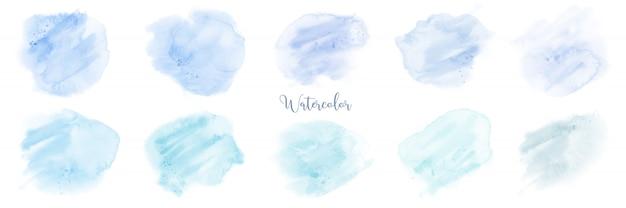 Insieme dell'acquerello pastello blu dipinto a mano