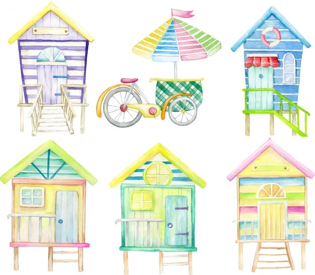 Insieme dell'acquerello, su uno sfondo isolato. case al mare e carretto dei gelati.