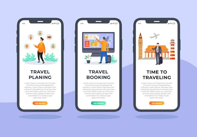 Insieme dell'agenzia di viaggi di progettazione dell'interfaccia utente mobile dello schermo di onboarding
