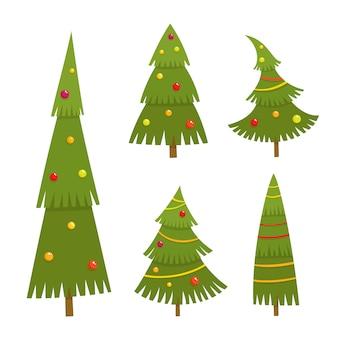 Insieme dell'albero di natale nello stile del fumetto, illustrazione di vettore isolata su fondo bianco. abeti verdi differenti con le palle e le ghirlande utilizzate per la rivista o libro, manifesto e carta, pagine web.