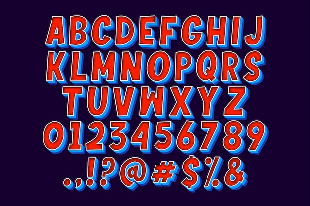 Insieme dell'alfabeto comico del fumetto del fumetto