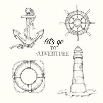 Insieme dell'ancoraggio di vettore di doodle disegnato a mano