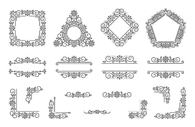 Insieme dell'angolo del deviatore del monogramma della cornice di testo, elemento del fiore dell'ornamento floreale di nozze elegante operato.