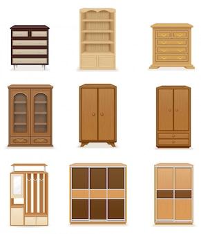 Insieme dell'armadio realistico del guardaroba della mobilia e dell'illustrazione di vettore del cassettone