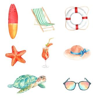 Insieme dell'attrezzatura dell'acquerello, illustrazione disegnata a mano degli elementi di estate isolata