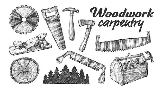 Insieme dell'attrezzatura della raccolta di carpenteria del legno.