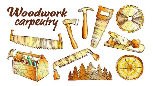 Insieme dell'attrezzatura della raccolta di carpenteria del legno