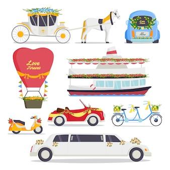 Insieme dell'automobile dell'automobile di amore di bellezza di matrimonio del matrimonio romantico dello sposo e del matrimonio dello sposo romantico tradizionale tradizionale del trasporto di modo di trasporto