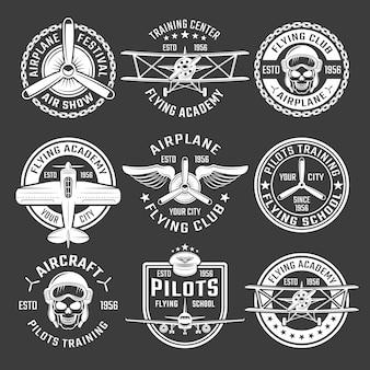 Insieme dell'emblema dell'aeroplano di colore bianco