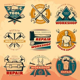 Insieme dell'emblema dell'officina di riparazione dell'annata