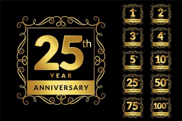 Insieme dell'emblema di logotipo dorato anniversario di lusso d'epoca