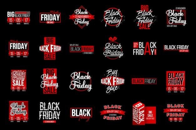 Insieme dell'etichetta dell'etichetta di vendita di black friday, progettazione del modello.