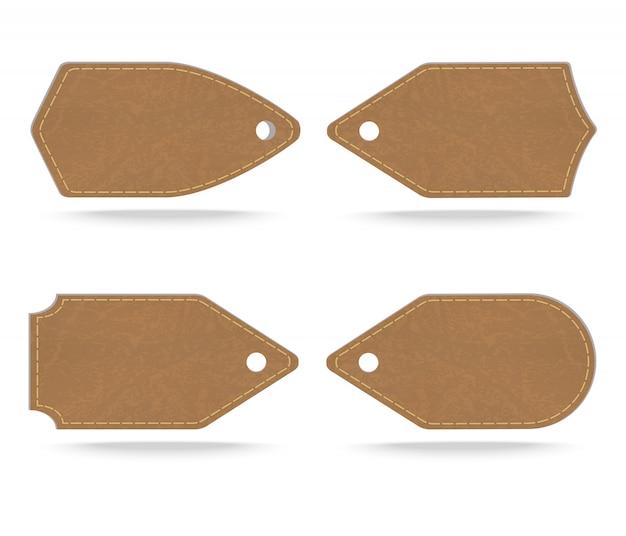 Insieme dell'etichetta di cuoio su fondo bianco, illustrazione di vettore