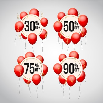 Insieme dell'etichetta di prezzo di offerta di sconto con palloncini
