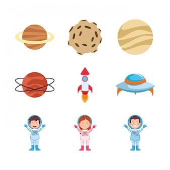 Insieme dell'icona degli astronauti e dei pianeti del fumetto