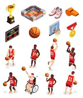 Insieme dell'icona degli elementi di pallacanestro