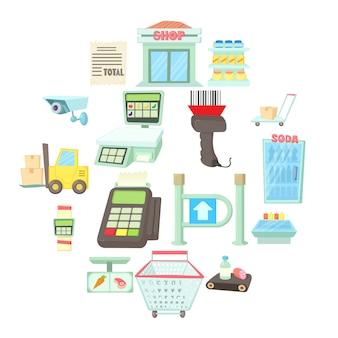 Insieme dell'icona degli oggetti del supermercato, stile del fumetto