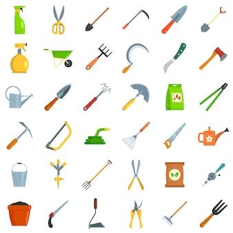 Insieme dell'icona degli strumenti di giardinaggio