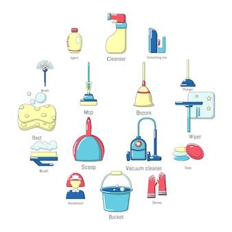 Insieme dell'icona degli strumenti di pulizia, stile del fumetto