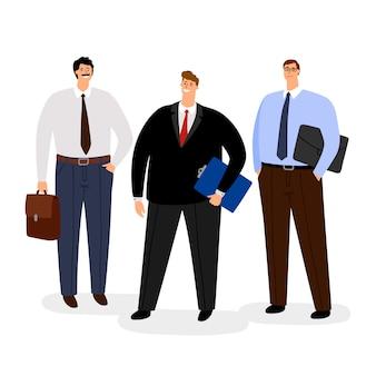 Insieme dell'icona degli uomini d'affari isolato su bianco