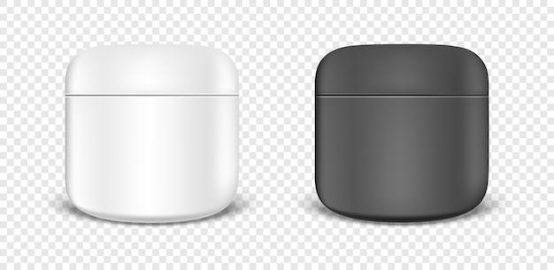 Insieme dell'icona del barattolo crema bianco e nero.