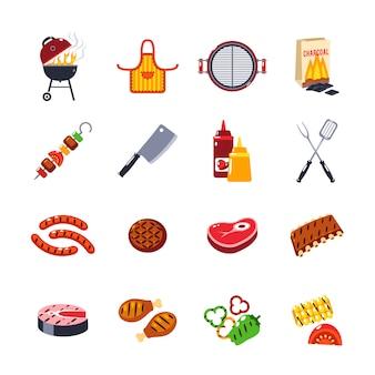 Insieme dell'icona del barbecue e della griglia