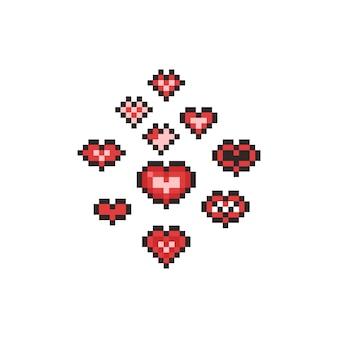 Insieme dell'icona del cuore del fumetto di arte del pixel.