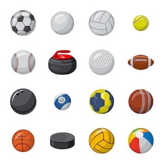 Insieme dell'icona del fumetto della palla, palla di sport.