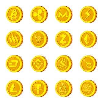 Insieme dell'icona del fumetto di criptovaluta, cripto bitcoin.