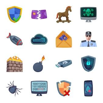 Insieme dell'icona del fumetto di difesa informatica, sicurezza informatica.