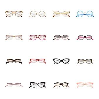 Insieme dell'icona del fumetto di produzione di occhiali, occhiali di moda.