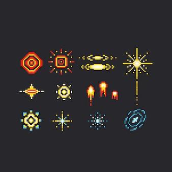 Insieme dell'icona del fuoco d'artificio di arte del pixel.