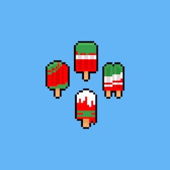 Insieme dell'icona del gelato di natale del fumetto di arte del pixel.