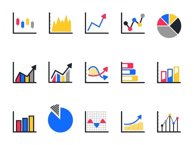 Insieme dell'icona del grafico e del grafico, icona del diagramma a torta.