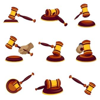Insieme dell'icona del martello del giudice