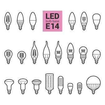 Insieme dell'icona del profilo delle lampadine della luce e14 del led