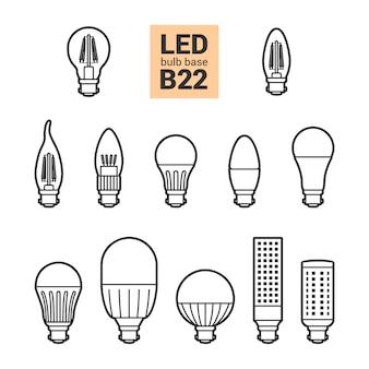Insieme dell'icona del profilo di vettore delle lampadine della luce b22 del led