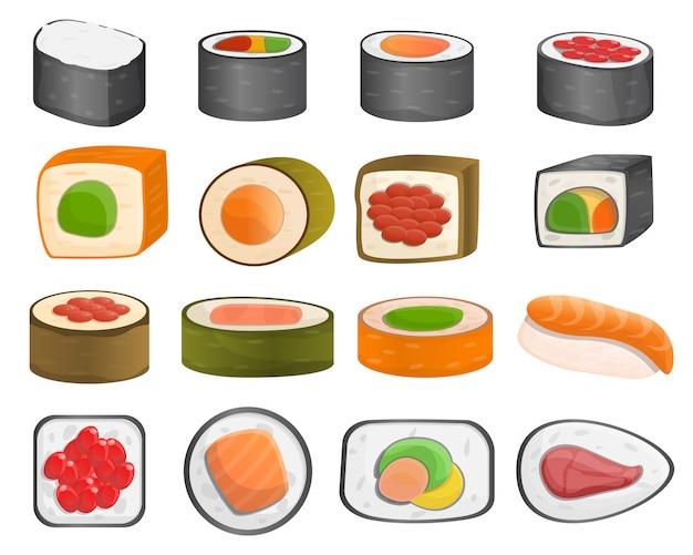 Insieme dell'icona del rotolo di sushi, stile del fumetto