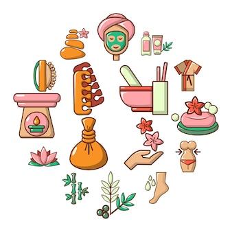 Insieme dell'icona del salone della stazione termale, stile del fumetto
