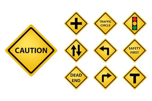 Insieme dell'icona del segnale stradale. concetto di strada