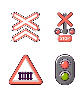 Insieme dell'icona del segnale stradale. l'insieme del fumetto delle icone di vettore del segnale stradale ha messo isolato